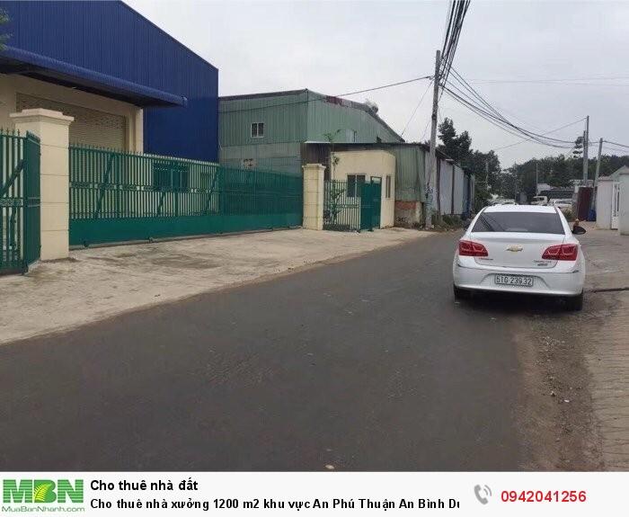 Cho thuê nhà xưởng 1200 m2 khu vực An Phú Thuận An Bình Dương