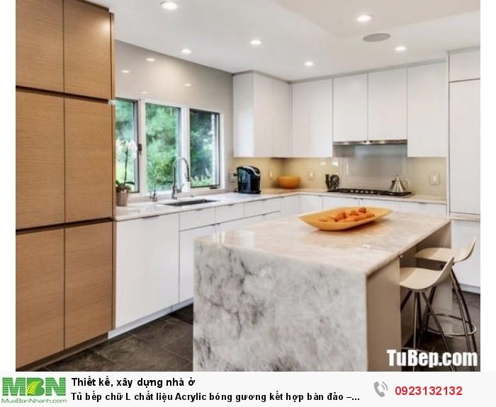 Tủ bếp chữ L chất liệu Acrylic bóng gương kết hợp bàn đảo – TBN0049 + Chất liệu và xuất xứ: Chất liệu Acrylic EU + Màu sắc và đặc tính: trắng chủ yếu + Hình dạng kích thước:Tủ bếp được thiết kế dạng chữ L theo phong cách hiện đại + Loại nhà và diện tích đặt bếp: Căn hộ gia đình, không gian phòng khoảng 20m2 + Dịch vụ cộng thêm: thiết kế miễn phí, theo dõi tiến độ online, tem chứng nhận, sms theo dõi bảo hành, bảo trì 24/7