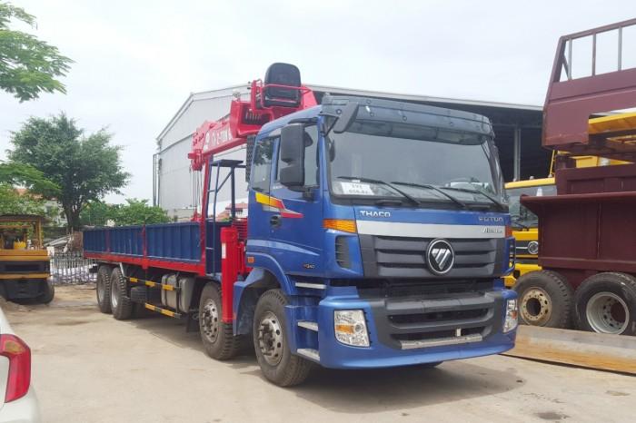 Xe tải Thaco Auman c300b/w340 gắn cần cẩu Atom736l 7 tấn 6 đốt