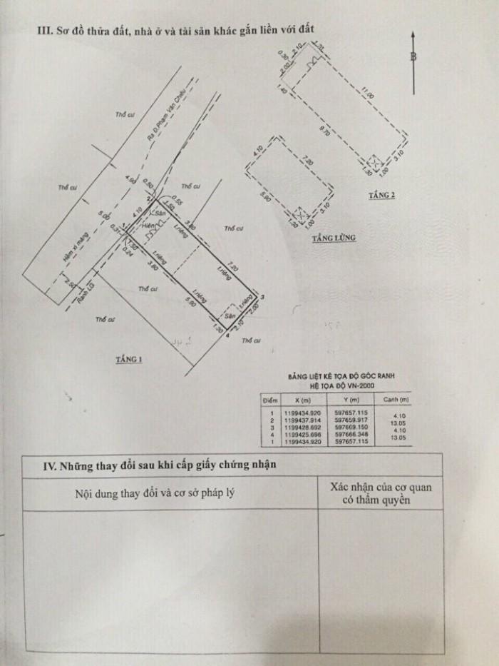 Bán Nhà hẻm 1 trục Cây Trâm, phường 8, quận Gò Vấp, 4,1 x 13m, 1 Trệt + 1 lửng, 3 Lầu, giá 3,58 tỷ