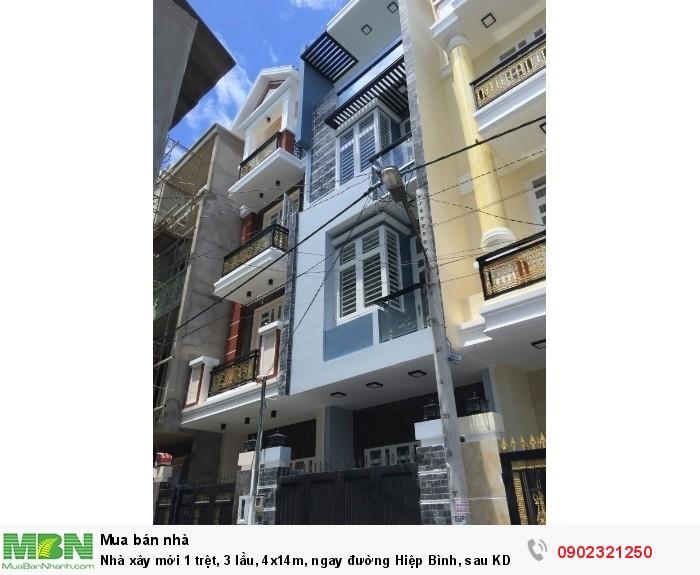 Nhà xây mới 1 trệt, 3 lầu, 4x14m, ngay đường Hiệp Bình, sau KDC Hồng Long, mới xây, đường 5m
