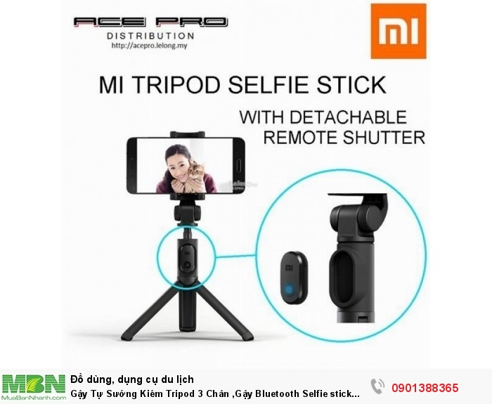 """Gậy tự sướng Selfie stick tripod Xiaomi là một sản phẩm """"lai"""" giữa gậy tự s�..."""