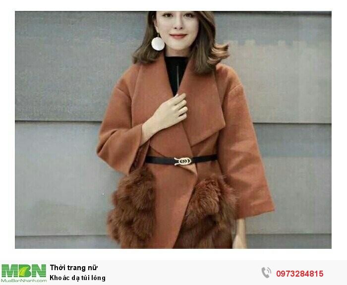 Khoác dạ túi lông