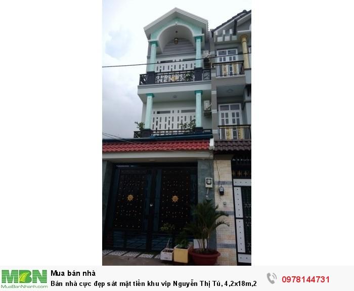 Bán nhà cực đẹp sát mặt tiền khu vip Nguyễn Thị Tú, 4,2x18m,2 lầu sân thượng