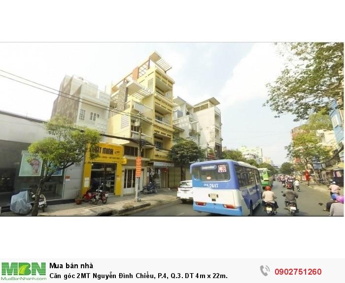 Căn góc 2MT Nguyễn Đình Chiểu, P.4, Q.3. DT 4m x 22m.