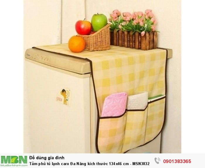 Tấm phủ tủ lạnh caro là sản phẩm hữu ích bảo vệ tủ lạnh của bạn sẽ tránh khỏi nguy cơ bị bụi phủ gây mất vệ sinh và đôi khi làm hỏng điện máy bên trong.2