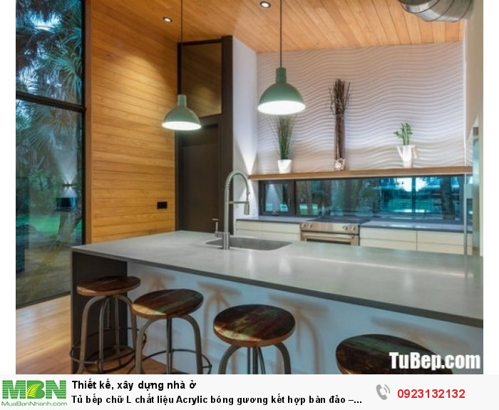 Tủ bếp chữ L chất liệu Acrylic bóng gương kết hợp bàn đảo – TBN0051 + Chất liệu và xuất xứ: Chất liệu Acrylic EU + Màu sắc và đặc tính: trắng chủ yếu + Hình dạng kích thước:Tủ bếp được thiết kế dạng chữ L theo phong cách hiện đại + Loại nhà và diện tích đặt bếp: Căn hộ gia đình, không gian phòng khoảng 20m2 + Dịch vụ cộng thêm: thiết kế miễn phí, theo dõi tiến độ online, tem chứng nhận, sms theo dõi bảo hành, bảo trì 24/7