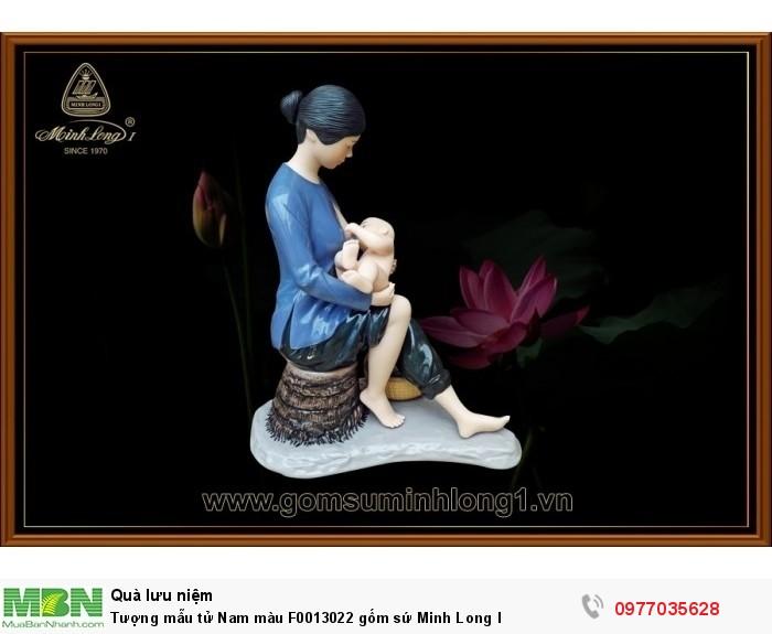 Tượng mẫu tử Nam màu F0013022 gốm sứ Minh Long I