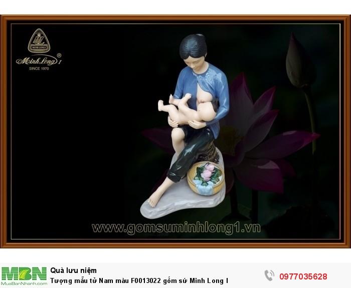 Tượng mẫu tử Nam màu F0013022 gốm sứ Minh Long I1