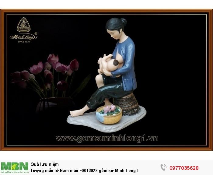 Tượng mẫu tử Nam màu F0013022 gốm sứ Minh Long I2