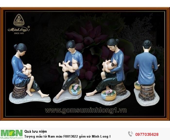 Tượng mẫu tử Nam màu F0013022 gốm sứ Minh Long I4