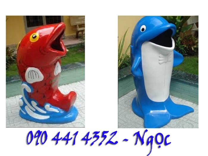 Thùng rác con vật , thùng rác trang trí, cá voi, cánh cụt , cá chép, cá heo... thùng rác con thú giá rẻ tphcm