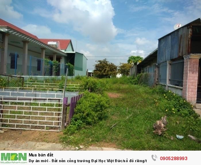 Dự án mới - Đất nền cổng trường Đại Học Việt Đức/sổ đỏ riêng/thổ cư 100%.Đường nhựa 25m.