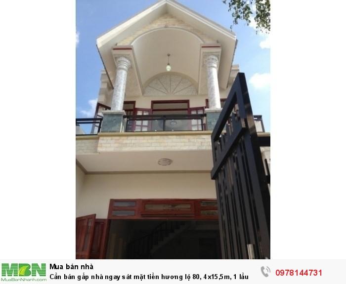 Cần bán gấp nhà ngay sát mặt tiền hương lộ 80, 4x15,5m, 1 lầu