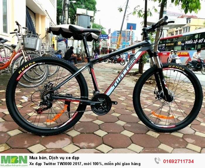 Xe đạp Twitter TW3000 2017, mới 100%, miễn phí giao hàng, màu Đen đỏ
