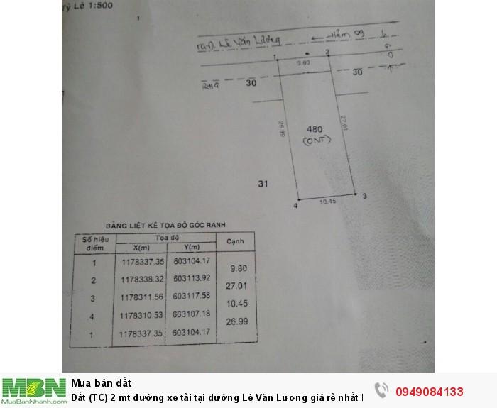 Đất (TC) 2 mt đường xe tải tại đường Lê Văn Lương giá rẻ nhất khu vực