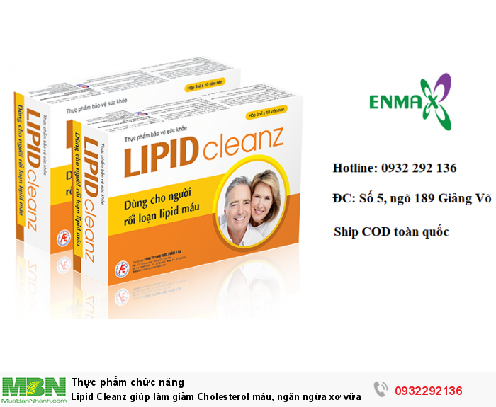 Lipid Cleanz giúp giảm cholesterol máu, ngăn ngừa xơ vữa mạch, hạn chế nguy cơ mắc bệnh tim mạch . Hộp 30 viên, liên hệ 0932 292 136 để được giao hàng tận nơi trên toàn quốc0
