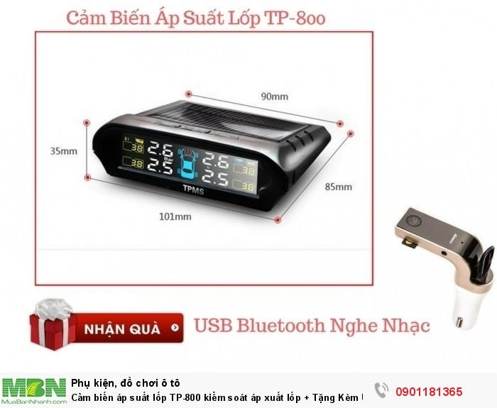 Cảm biến áp suất lốp TP-800 kiểm soát áp xuất lốp + Tặng Kèm USB Bluetooth - MSN181310