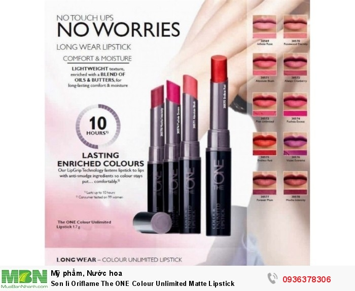 Son lì Oriflame The ONE Colour Unlimited Matte Lipstick