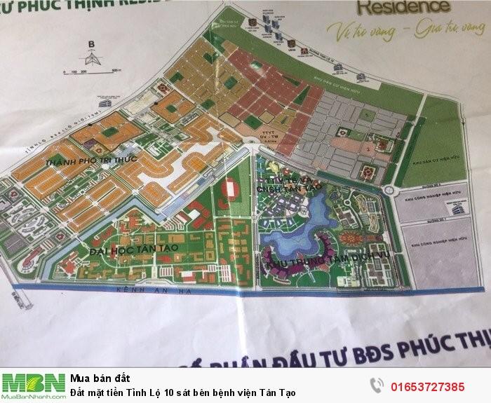 Đất mặt tiền Tỉnh Lộ 10 sát bên bệnh viện Tân Tạo