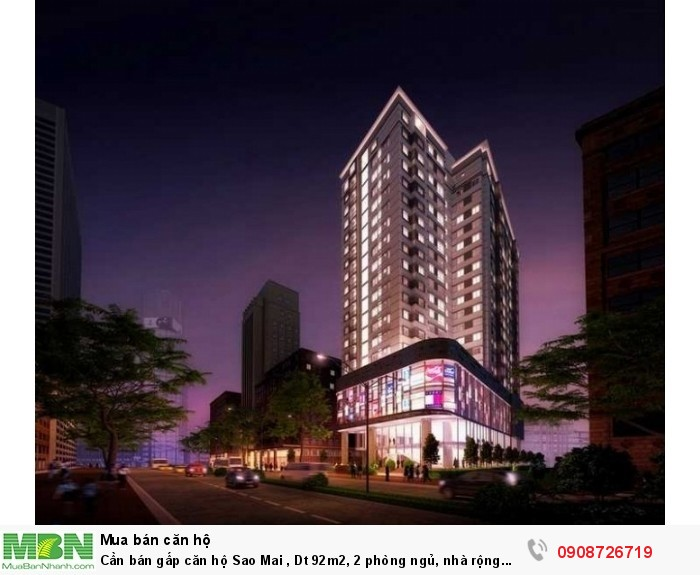 Cần bán gấp căn hộ Sao Mai , Dt 92m2, 2 phòng ngủ, nhà rộng thoáng mát, sổ hồng, tặng nội thất