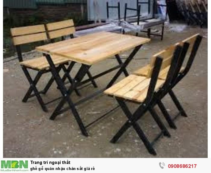 ghế gỗ quán nhậu chân sắt giá rẻ0