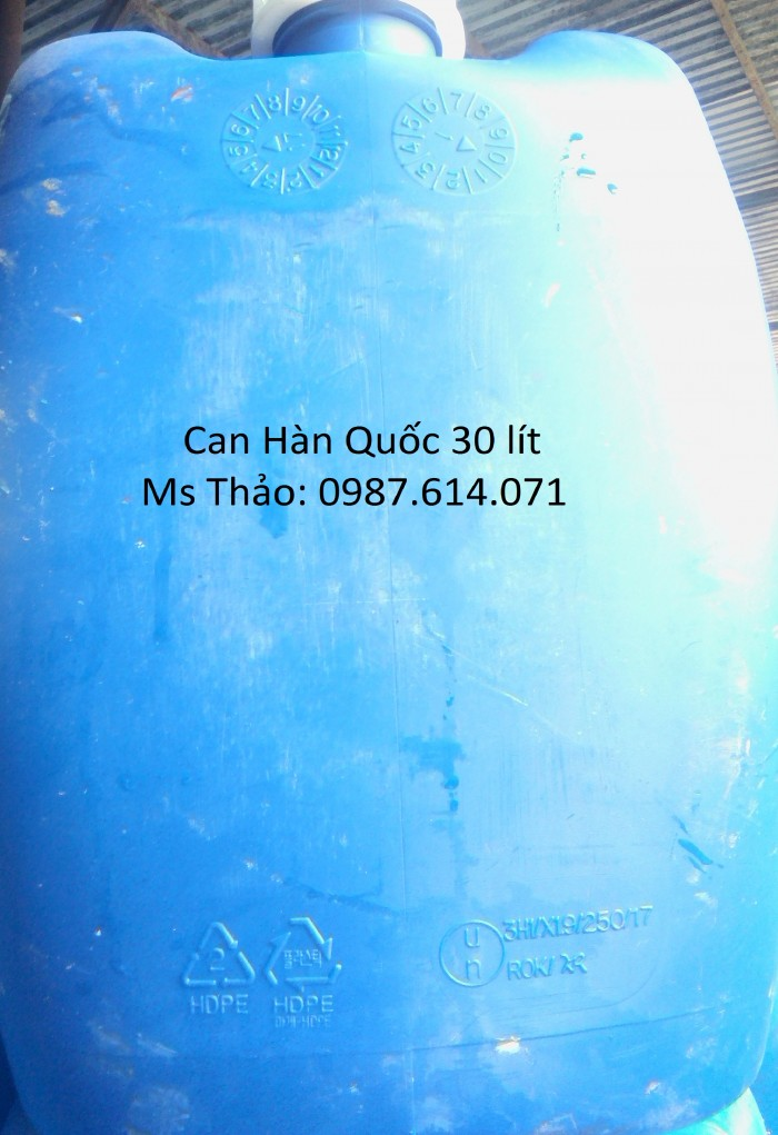 Can nhựa 30 lít, 25 lít, 20 lít, can Hàn Quốc, Can oxy Thái, can tròn, can vuông, can dẹp