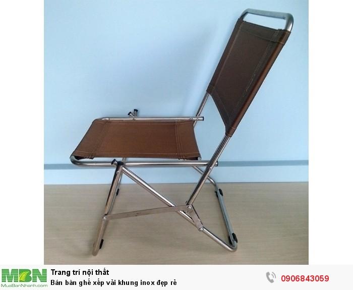 Bán bàn ghế xếp vải khung inox đẹp rẻ0