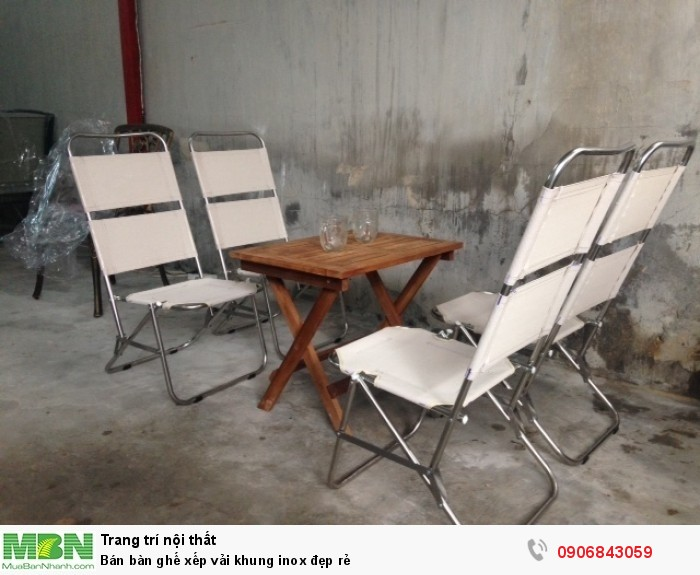 Bán bàn ghế xếp vải khung inox đẹp rẻ1
