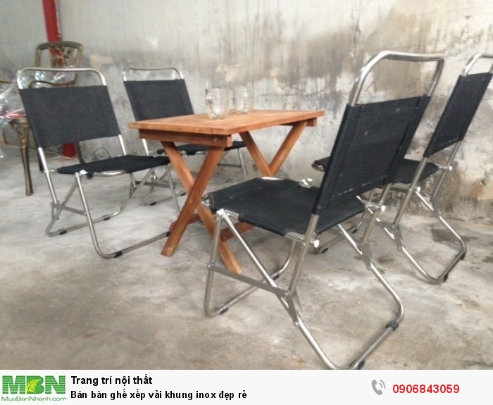 Bán bàn ghế xếp vải khung inox đẹp rẻ2