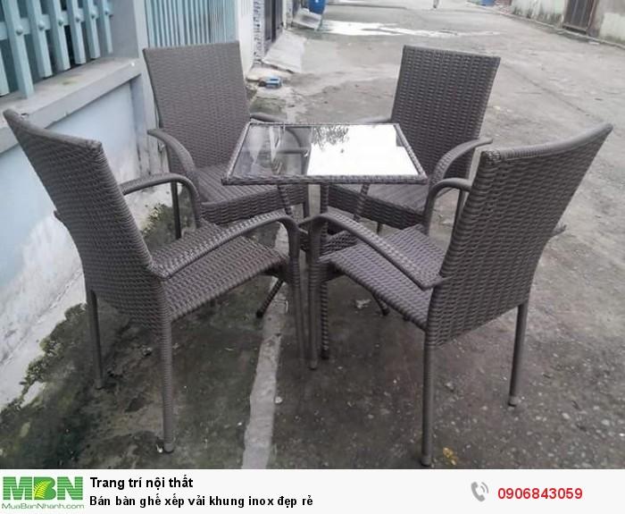 Bán bàn ghế xếp vải khung inox đẹp rẻ3