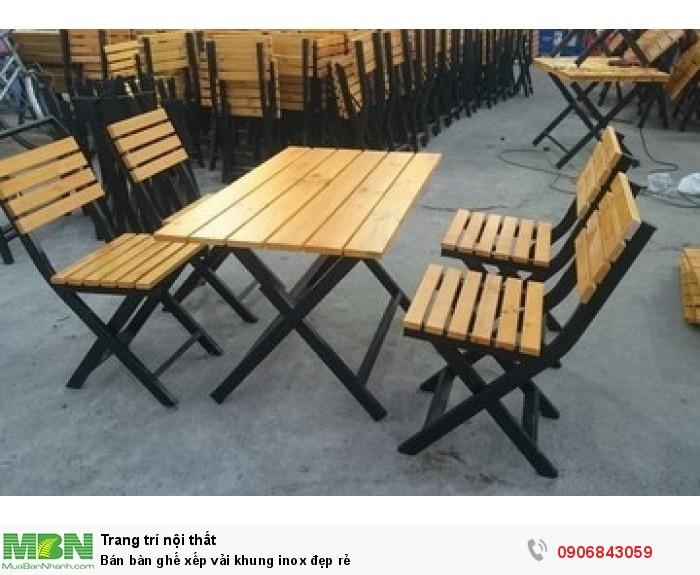 Bán bàn ghế xếp vải khung inox đẹp rẻ4