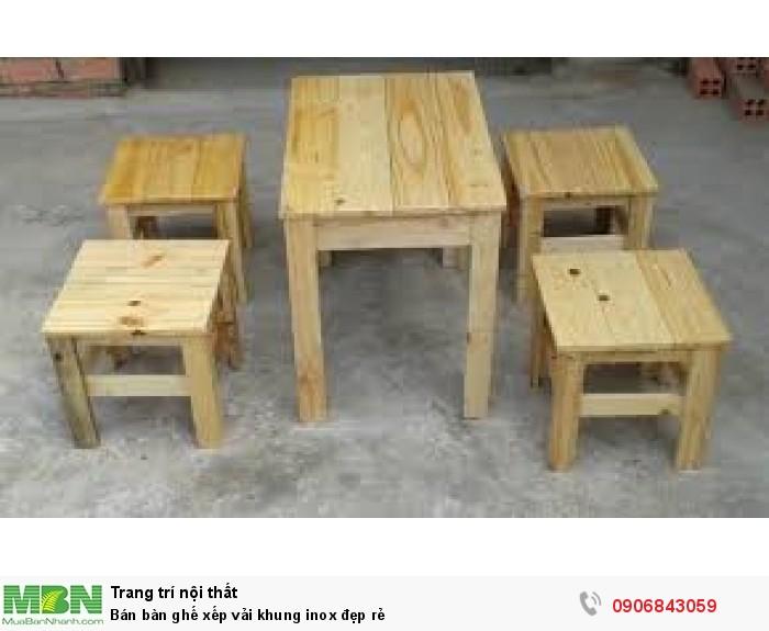 Bán bàn ghế xếp vải khung inox đẹp rẻ5