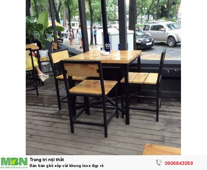 Bán bàn ghế xếp vải khung inox đẹp rẻ6