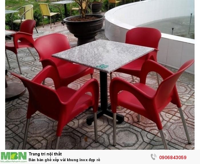 Bán bàn ghế xếp vải khung inox đẹp rẻ8