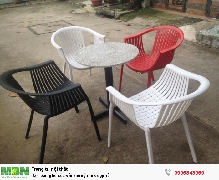 Bán bàn ghế xếp vải khung inox đẹp rẻ9