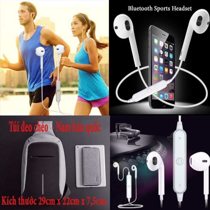 Combo Tai nghe Bluetooth sports headset S6, Túi đeo chéo Hàn Quốc