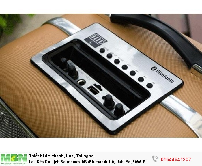 Loa Kéo Du Lịch Soundmax M6 (Bluetooth 4.0, Usb, Sd, 80W, Pin Sạc) + Micro Không Dây Chính Hãng