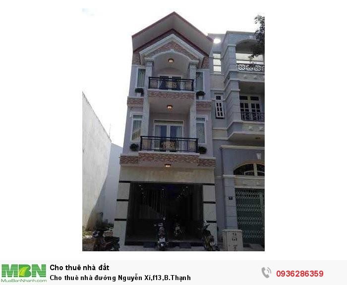 Cho thuê nhà đường Nguyễn Xí,f13,B.Thạnh