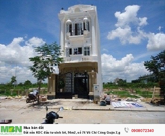 Đất nền KDC đầu tư sinh lời, 94m2, số 74 Võ Chí Công Quận 2,giá đẹp nhất khu vực, có sổ riêng.