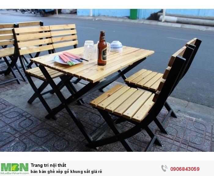 bán bàn ghế xếp gỗ khung sắt giá rẻ