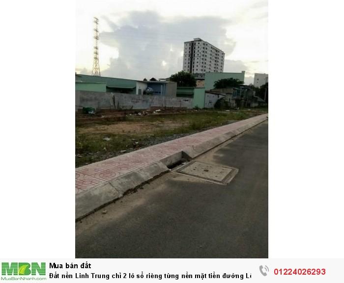 Đất nền Linh Trung chỉ 2 lô sổ riêng từng nền mặt tiền đường Lê Văn Chí