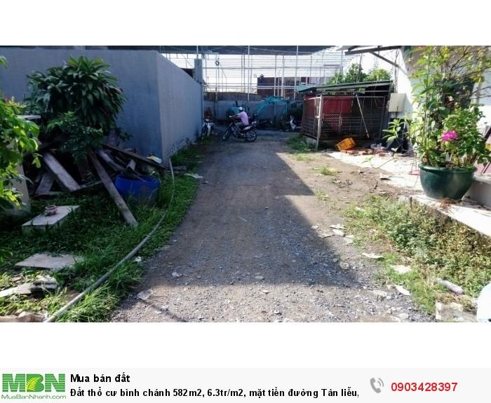 Đất thổ cư bình chánh 582m2, 6.3tr/m2, mặt tiền đường Tân liễu, hưng Long- bình chánh