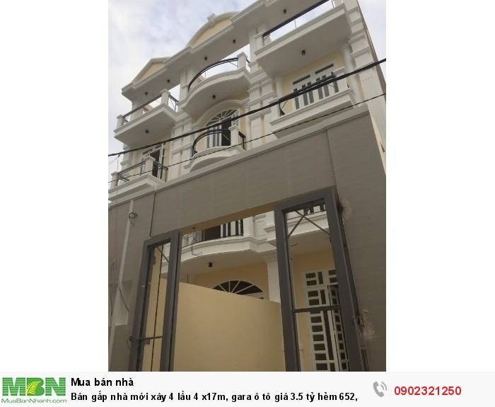Bán gấp nhà mới xây 4 lầu 4 x17m, gara ô tô giá 3.5 tỷ hẻm 652, p Hiệp Bình Phước, Q Thủ Đức