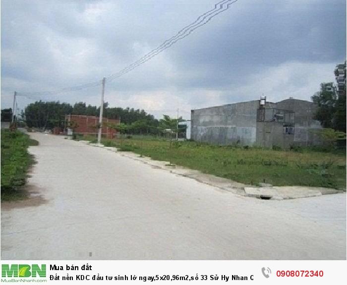 Đất nền KDC đầu tư sinh lờ ngay,5x20,96m2,số 33 Sử Hy Nhan Quận 2
