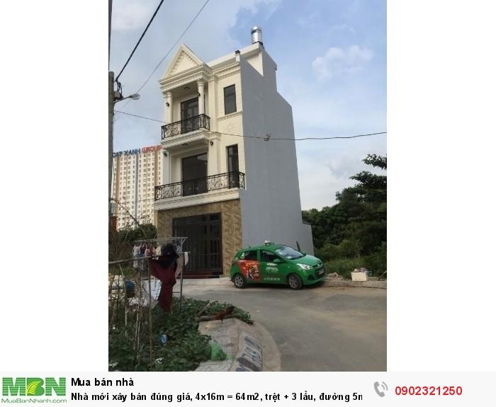 Nhà mới xây bán đúng giá, 4x16m = 64m2, trệt + 3 lầu, đường 5m ngay hẻm 808 Hiệp Bình Phước