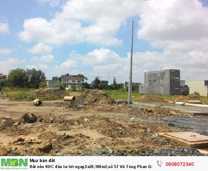 Đất nền KDC đầu tư lời ngay,5x20,100m2,số 57 Vũ Tông Phan Quận 2