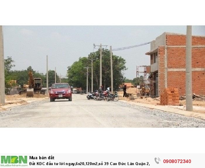 Đất KDC đầu tư lời ngay,6x20,120m2,số 39 Cao Đức Lân Quận 2,giá tốt nhất hiện nay,đã có sổ riêng.