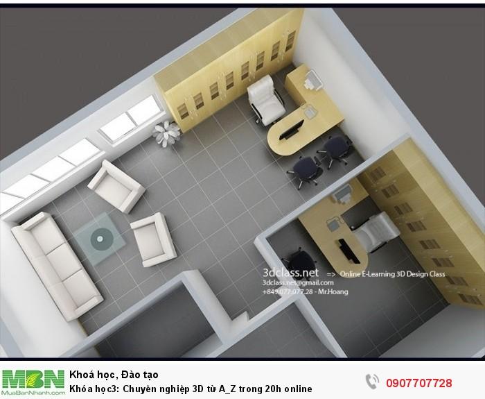 Khóa học3: Chuyên nghiệp 3D từ A_Z trong 20h online