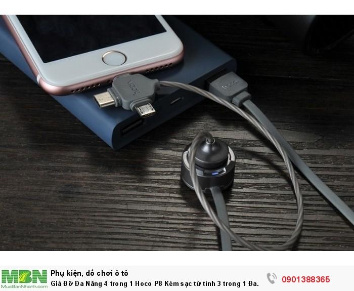 Ngoài là sợi cáp kết nối điện thoại với giá đỡ, sợi dây cáp từ tính này còn có thể sử dụng như một cáp sạc thông thường, giúp bạn sạc hay hết nối các thiết bị.